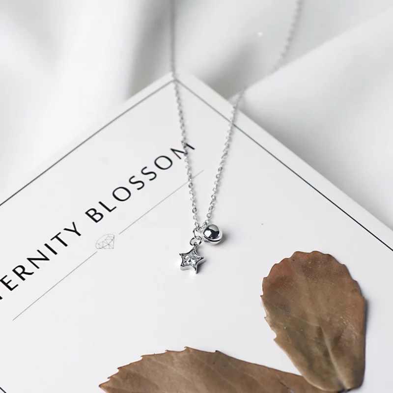 Gran oferta Simple plata estrella collar de campana colgante 925 AAA zirconio estrella cadenas collares para mujer dama joyería de moda