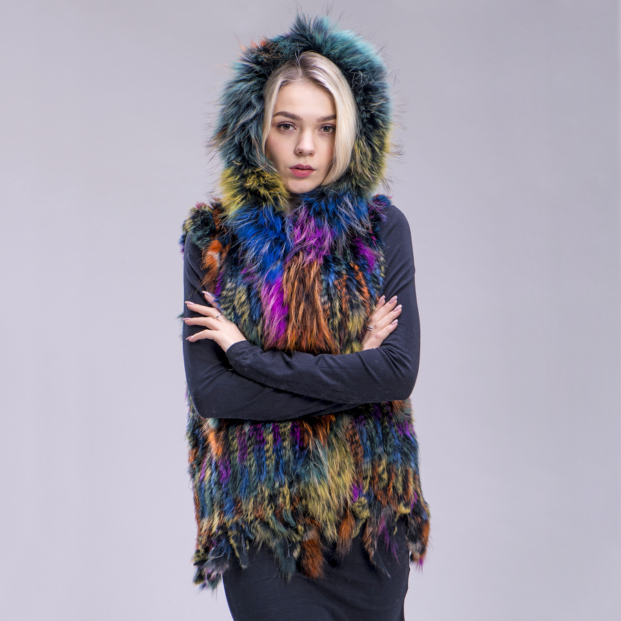 ZDFURS* New Free Shipping Women Real Natural Rabbit Vest Fur With Raccoon Fur Hooded Collar Trimming Waistcoat Knitted Genuine