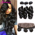 DHL Peruvian Hair Bundles Loose Wave With Frontal Closure 7A Unprocessed Virgin Hair With Closure 13x4 Lace Frontal With Bundles