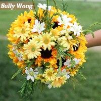 Sully Wong 2017New Girassóis de Seda casamento buquê de flores flores Artificiais cair vivid falso folha flor do casamento buquês de noiva