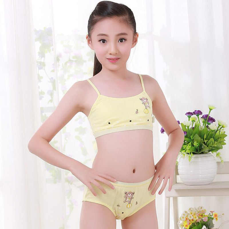 836b4a3055166 2017 New Young Girl underwear set Training Bras Vest and Briefs Girls  cotton under clothing Student