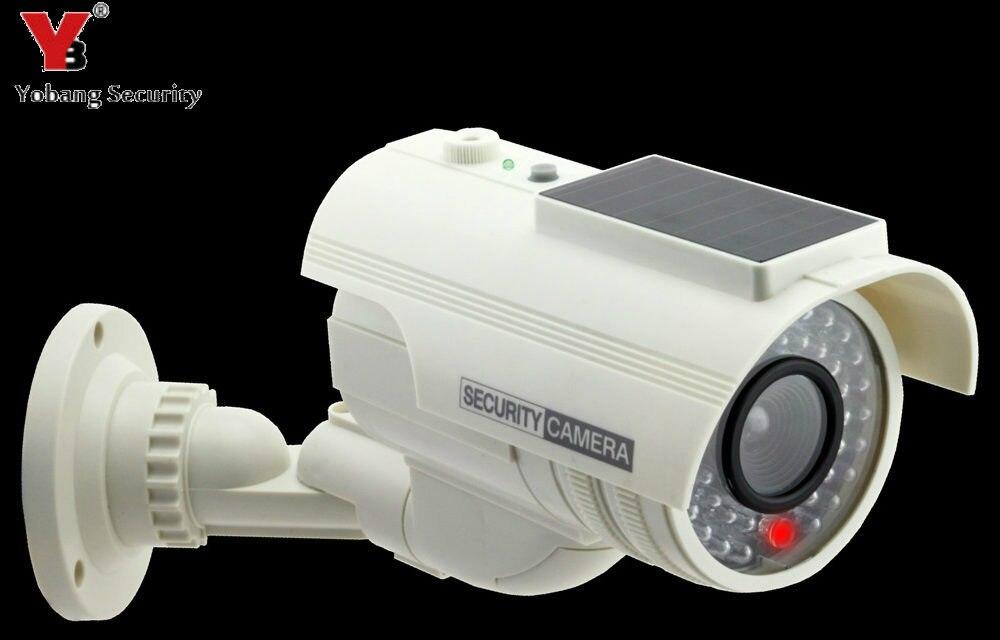 YobangSecurity Outdoor Indoor Solar Power Surveillance Dummy Fake Immitation CCTV Camera With Flashing LED Light Bullet