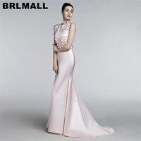 BRLMALL Modest Light Pink Evening Dresses 2017 Sleeveless Mermaid Formal Party Gown Satin Floor Length Long