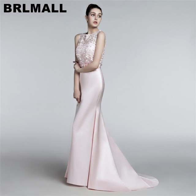 BRLMALL Modest Light Pink Evening Dresses 2017 Sleeveless Mermaid ...