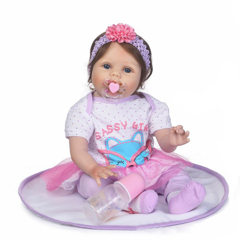 MINOCOOL 55cm Girl Doll Reborn Silicone Simulated Lifelike Bathing Accompany Doll with Nipple and Bottle Kids Educational Toys MINOCOOL 55cm Girl Doll Reborn Silicone Simulated Lifelike Bathing Accompany Doll with Nipple and Bottle Kids Educational Toys