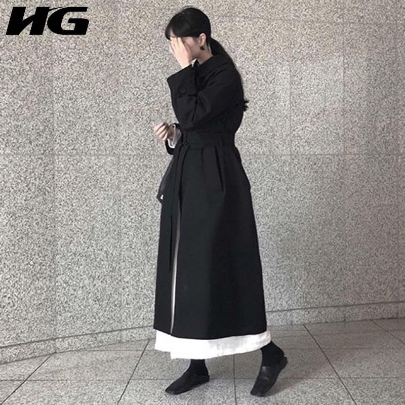 [HG] Korea 2018 New Arrival Autumn Fashion Women Single Breasted Bandage Long Coat Female Full Sleeve Solid Color   Trench   LJT3693