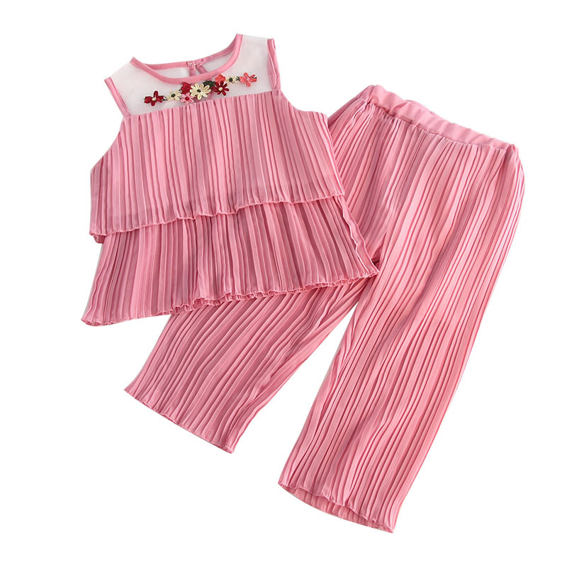 Children's clothing girls chiffon wrinkle girls wide leg pants wild casual mesh vest two-piece suit active wide leg stretch waistband pants with stitching design in blue