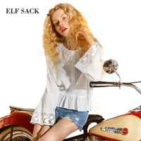 ELF SACK Solid Women Summer Chiffon Blouses Female Lace Loose Shirts Womens Ruffles Hem Thin See