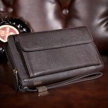 2016 New multifunction brand design 100% genuine leather wallet long Business men clutch bags Solar energy mens zipper wallets