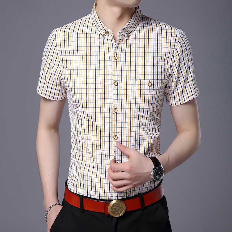 2019 модная летняя брендовая рубашка мужская клетчатая тренировка с коротким рукавом Slim Fit уличная одежда на пуговицах высокого качества повседневная одежда для мальчиков