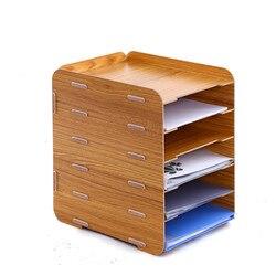 Wooden file rack holder creative desktop A4 file box 6 multilayer information storage frame magazine organizers office supplies