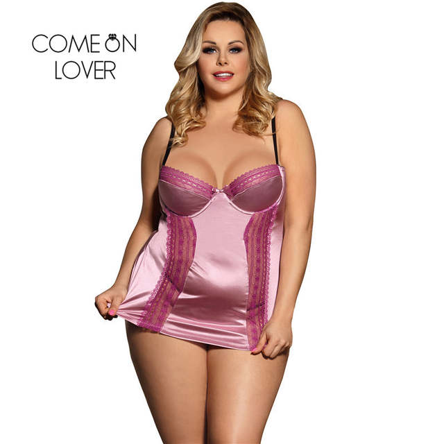 f597b02ef297a RI80394 Comeonlover Women s Nightgown Nighty Sexy Babydoll Lingerie Sleepwear  Plus Size Silk Satin Lace Stitching Sexy