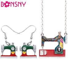 Bonsny Statement Enamel Alloy Sewing Machine Earrings Necklace Pendant Fashion Tools Jewelry Sets For Women Girl Gift Bijoux New(China)