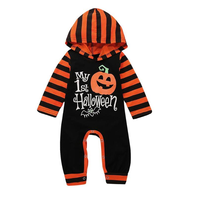 Children Baby Halloween   Romper   Stripe Letters Print Clothes Infant Kids Hooded Jumpsuit Baby Halloween Party Costume