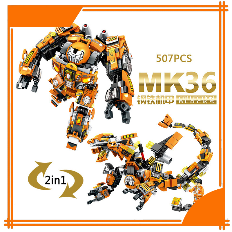 MK36 Super Hero Avenger Iron Man  Deformable dragon Robot Building Blocks Bricks Action Children Gifts Compatible With LEPIN  super hero factory 5 star wars bulus robot 20cm action toy figure building bricks block 44004
