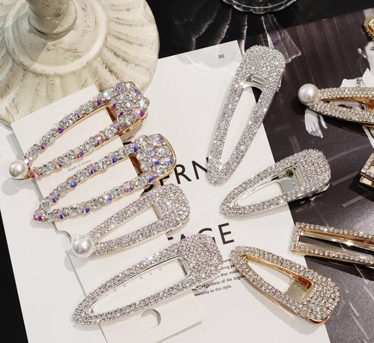 Fashion Uper Flash Luxury Temperament Full Diamond Crystal Pearl Elegant Women Barrettes Hair Clip Hairgrips Hair Accessories