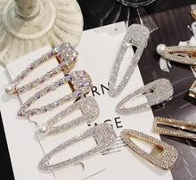 Fashion uper flash luxury temperament full diamond Crystal Pearl Elegant Women Barrettes Hair Clip Hairgrips Accessories