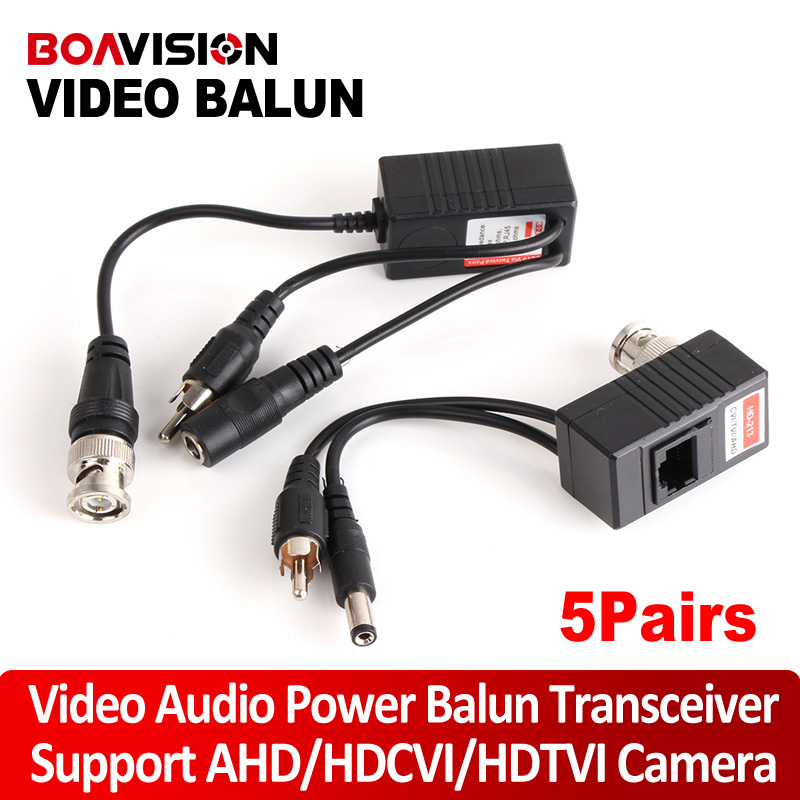 все цены на 5Pair CCTV Transceiver BNC UTP RJ45 Video Balun Video, Power Over CAT5/5E/6 Cable For HDCVI/HDTVI/AHD 720P Camera Up To 300m онлайн