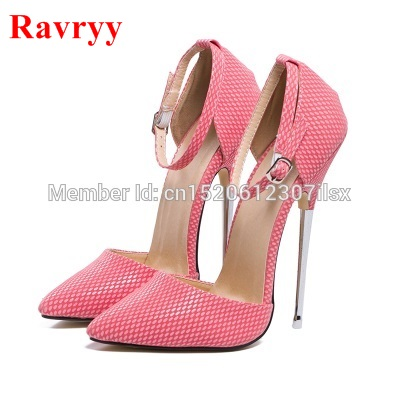 16cm high heels Stiletto Heel shoes Ankle Wrap pumps spike metal high heel Women Pumps sexy pointed toe high-heeled shoes bigtree summer shoes women elegant pumps pointed sexy ultra thin high shoes high heeled shoes hollow sweet stiletto g3168 3