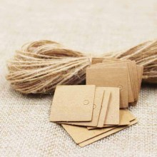 2.5*2.5cm Hand Made Small Gift Tags Kraft/black /white Jewelry Blank Hang Tag 50PCS Tags+50PCS Strings Accept custom logo