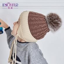 ENJOYFUR 2017 Children Winter Hats Real Fox Fur Pompom Hat Boy Knitted Cap Cotton Protect The Ears Hat Warm Thick Kids Beanies