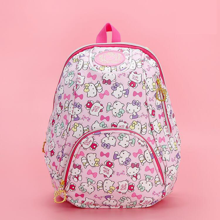 New Cartoon Genuine Hello Kitty Backpack Schoolbag High Quality Pu Pink Children Primary School Bag Travel Bag For Girls Gift colorland pu leather baby travel mummy maternity changing nappy diaper tote bag backpack baby orgenizer bags bolsa maternidad