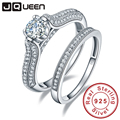 Big Sale 2016 100% 925 Sterling Silver Wedding Rings Genuine Jewelry Real Solid Silver Ring Set 1.25Ct Gem For Women With box