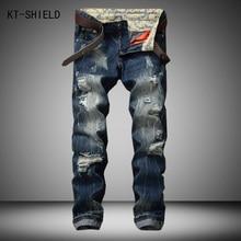 New Streetwear font b Mens b font Ripped Biker font b Jeans b font homme font
