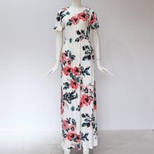 Women Long Maxi Dress 2019 Summer Floral Print Boho Beach Dress Short Sleeve Evening Party Dress Tunic Vestidos Plus Size XXXL
