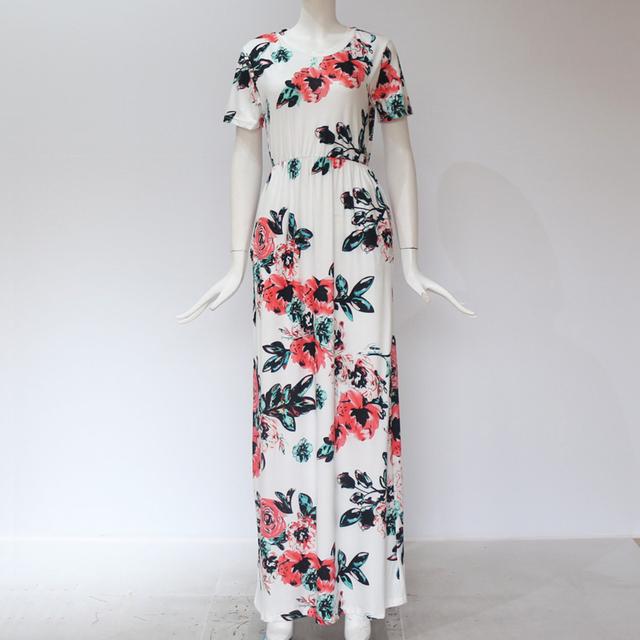 Women Long Maxi Dress Summer Floral Print Boho Beach Dress Short Sleeve Evening Party Dress