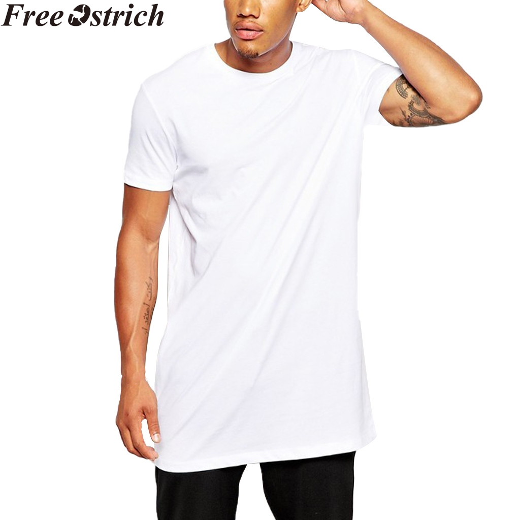 69477b6c404c New Clothing Mens Black Long t shirt Men Tops Hip hop tee T shirt Men  Hiphop Short Sleeve Longline casual Solid color Tee shirts-in T-Shirts from  Men's ...