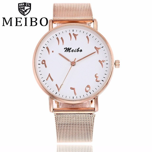 fe312d479c5 Números Arábicos MEIBO Marca Original Relógios Das Mulheres Dos Homens De  Malha De Prata de Ouro