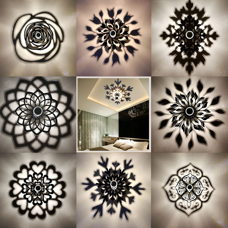 Amroe Creative Mandala Rose Flower Snowflake Leaf LED Wall Lamp Projection Shadow Warm Lighting Blub Nordic Acrylic Home Decor shadow projection lamp creative 201 essential button type stainless steel led home furnishing decoration