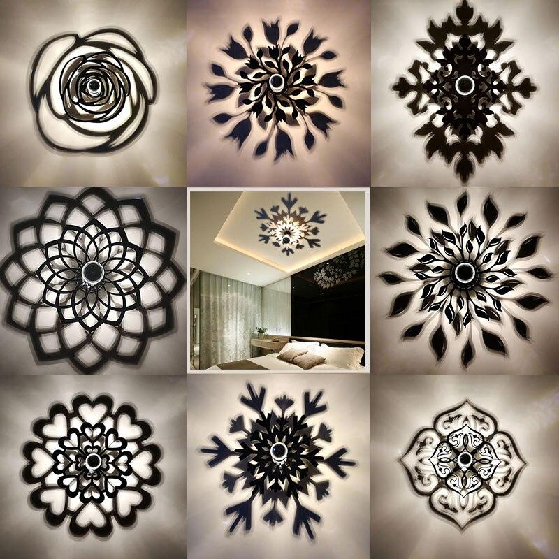 Amroe Creative Mandala Rose Flower Snowflake Leaf LED Wall Lamp Projection Shadow Warm Lighting Blub Nordic Acrylic Home Decor