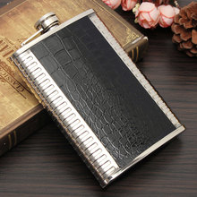 Hot EZLIFE Stainless Steel Leather 9oz Alcohol Hip Flask Mini Portable Travel Wisky Hip Flask Black Silver Color Hip Flask MS353