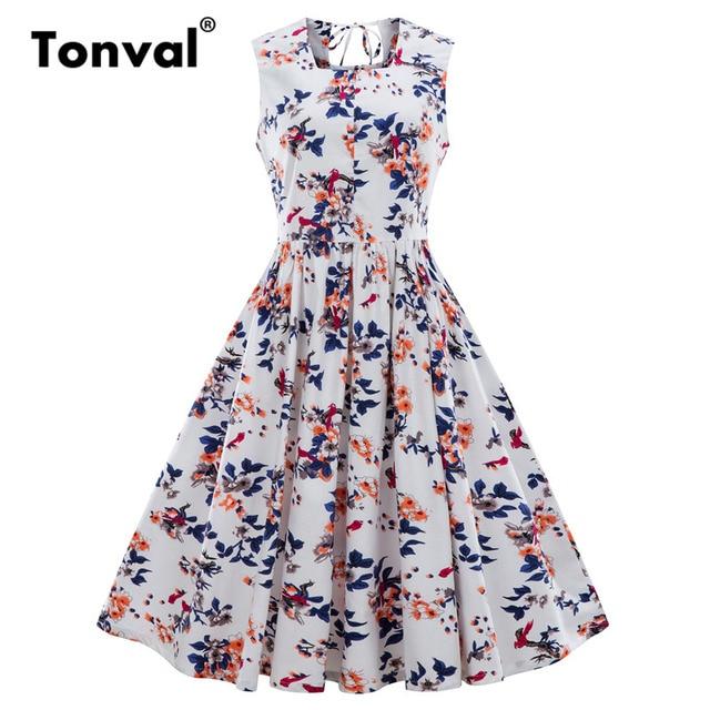 Tonval Little Flowers Vintage White Dress 2018 Women Summer Plus Size  Floral Dress Square Collar 4XL Pleated Dress 1265f081955a