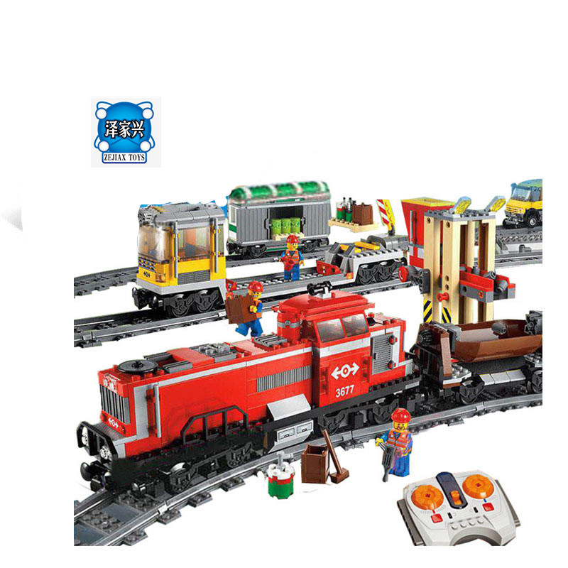 Lepin 02039 Model Building Kits Compatible with Building Brick Blocks Figures Toys City RED CARGO TRAIN 3677 RC Train 898 Pcs ynynoo bela 10501 233pcs princess friend elves elvendale school of dragons model building kits blocks brick with 41173