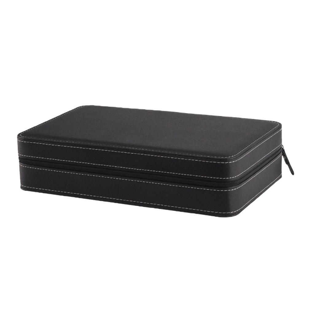 12 Slots Watch Box Storage Case With Zipper Multi-functional Bracelet Packaging Display Holder Casket Watches Holder Gray Black dark gray off shoulder jumpsuit with multi functional neck