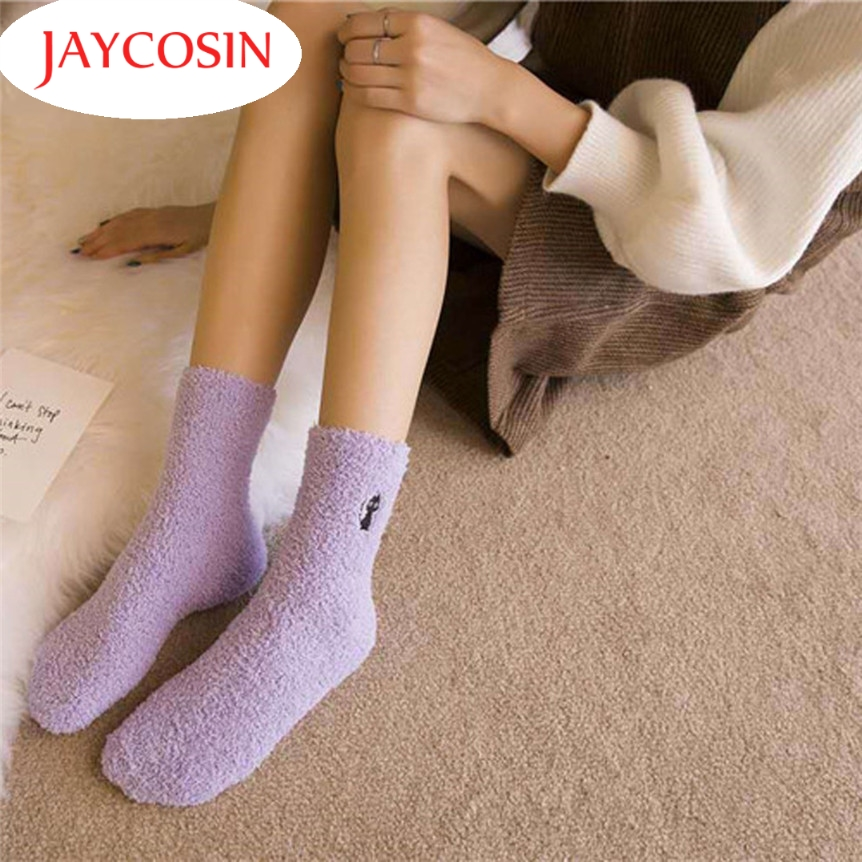 New Fashion  Coolbeener  Women Fashion Casual Comfort Warm Coral Cashmere Winter Socks Floor Socks dec27 Drop Shipping