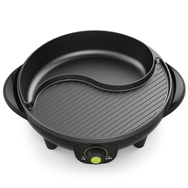 220V 2 In 1 Household Electric Hot Pot Non-stick Barbecue Grill Half Hot Pot Half Barbecue Grill Plate Multi Cooker 2 Flavor j35 multi function aluminum alloy 2 layer cooker household non stick electric hot pot maifan stone 12l 1900w with bamboo steamer
