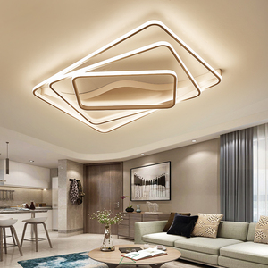 Image 4 - Modern led Chandelier for Living room Bedroom Aluminum Wave Rectangle circle lustre Chandelier Lightin high ceiling Chandelers
