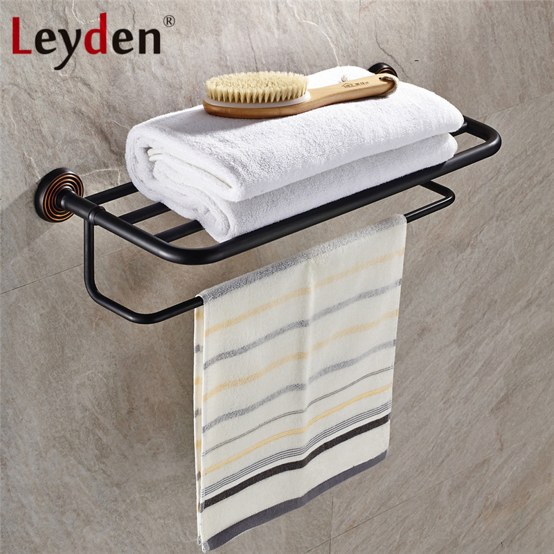Leyden Brass Antique Bronze Bathroom Shelf Clothes Shelf  Wall Mounted Towel Rack Shelf with Single Towel Bar Bathroom Accessory whole brass blackend antique ceramic bath towel rack bathroom towel shelf bathroom towel holder antique black double towel shelf