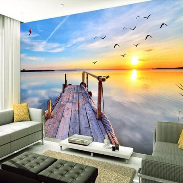 Beibehang Custom 3D Photo Wallpaper 3D Nature Landscape Sea View Large Wall  Painting Wall Decorations Bedroom