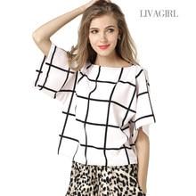 Manufacturer Direct 2018 new fashion Women Summer Blouses slash neck  batwing sleeve plus size print plaid chiffon Shirts 1220 2315852d6e69