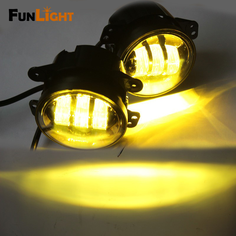 Free shipping 4 inch Amber Yellow 30W  Led Fog Lights for Jeep Wrangler 1997-2016 JK Off Road Fog Lamps