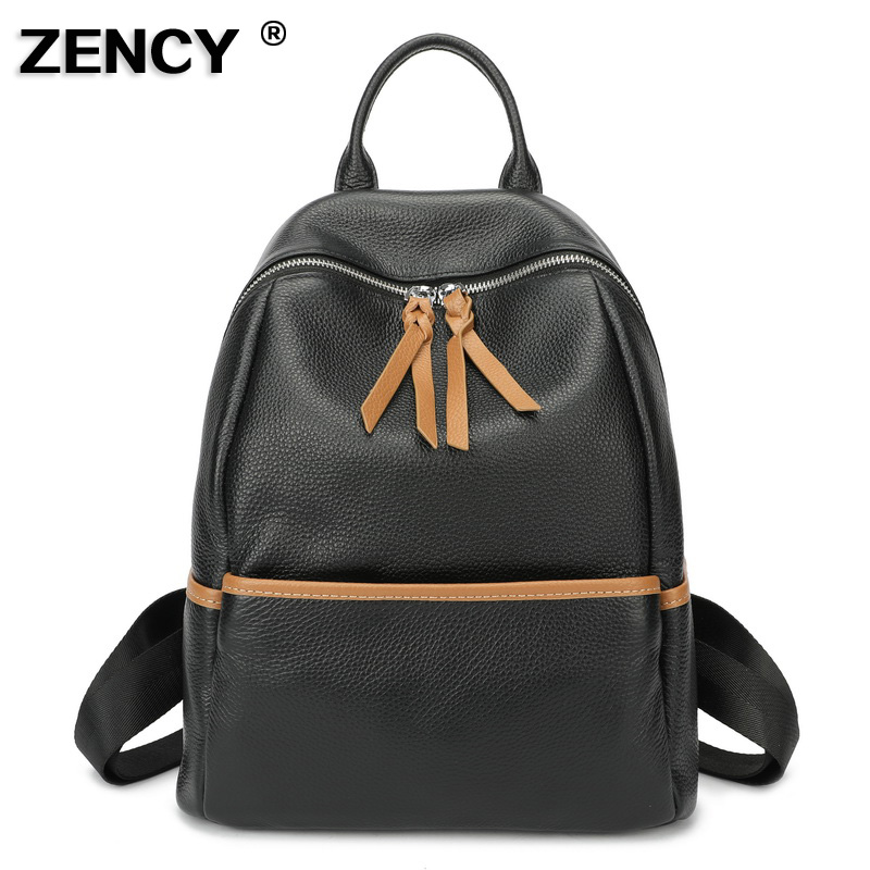 ZENCY Silver Color Hardware 100 Soft Natural Italian Genuine Cow Leather Shoulder Women Backpack Female Ladies