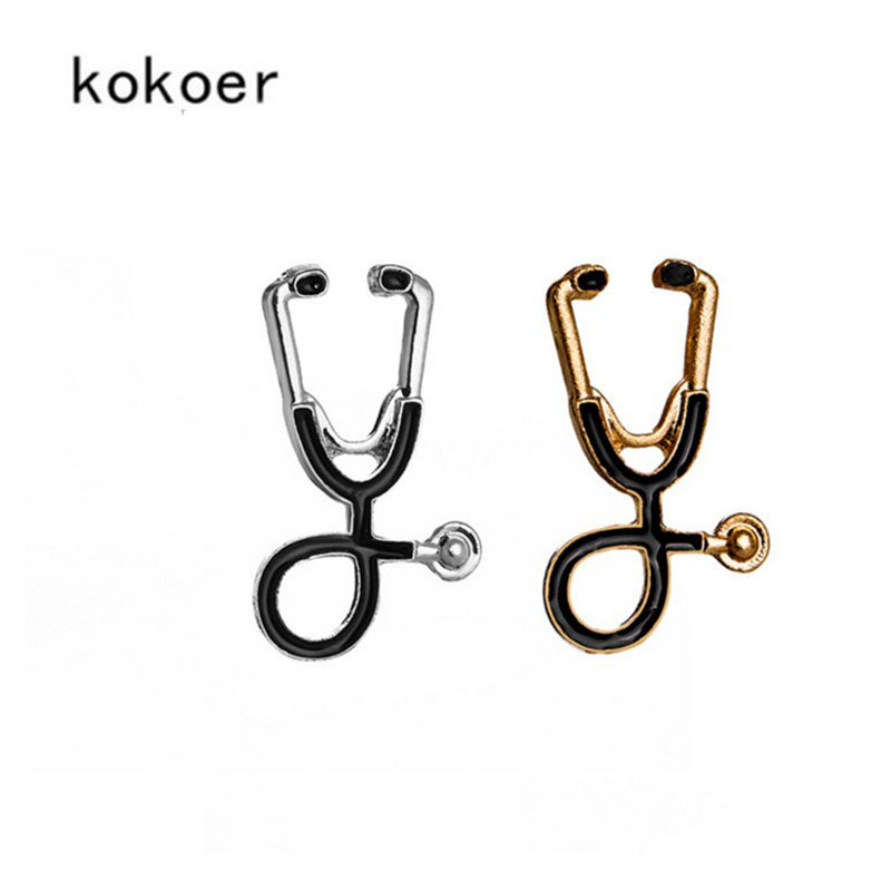 2018 Stethoscope Brooch Fashion Medical Jewelry Stethoscope Pin for Doctors Nurse Dress Accessories Graduation Gift Pins Nurse
