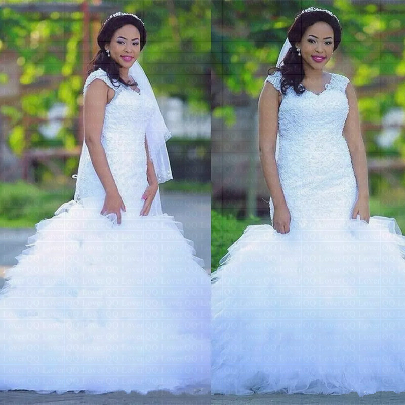 2019 New African Ruffles Lace Mermaid Wedding Dress Plus Size Bridal Gown Wedding Gowns