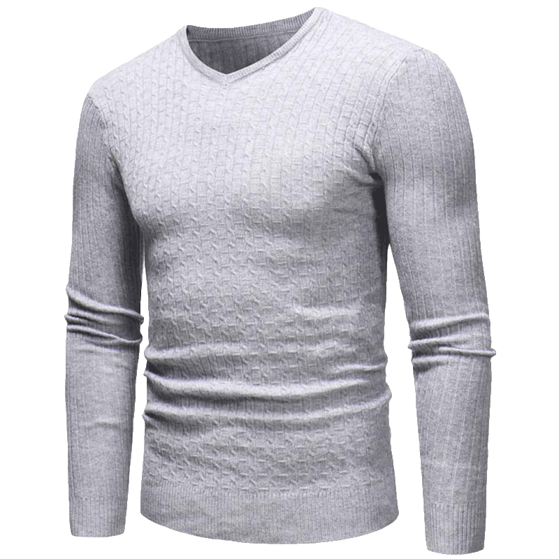 2019 Cotton Sweater Men Long Sleeve Pullovers Outwear Man V-Neck Sweaters Tops Loose Solid Elastic Force Fit Knitting Clothing