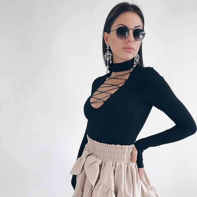 Wixra 2019 новая женская одежда хлопковые боди кружевные сексуальные длинные рукава открытые Комбинезоны для женщин